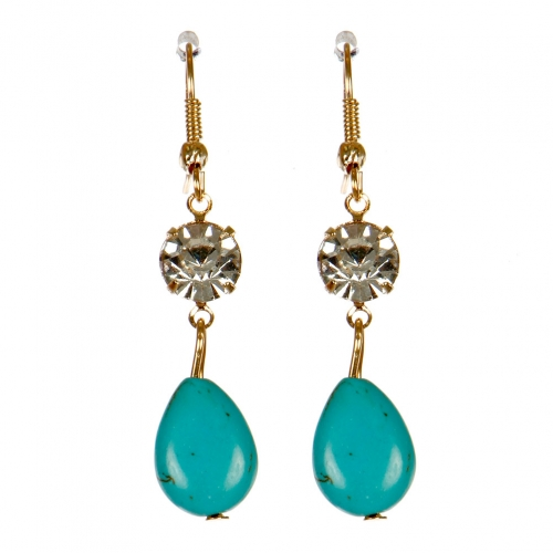 Wholesale M02E Cubic zirconia and stone drop earrings G