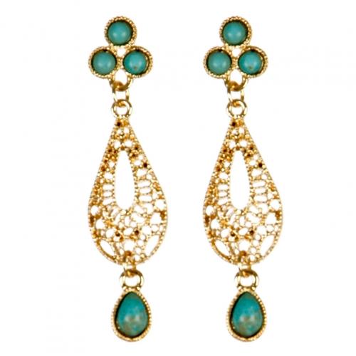 Wholesale M02E Filigree teardrop earrings G