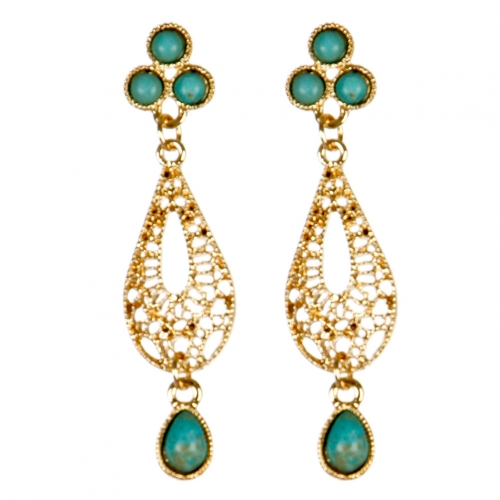 Wholesale M02E Filigree teardrop earrings G