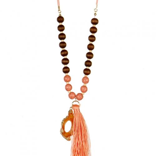 Wholesale L02E Beaded tassel necklace BLK