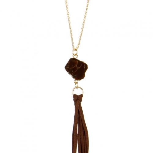 Wholesale L02E Faux suede tassel necklace BLK