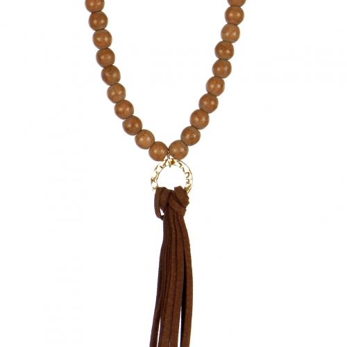 Wholesale L02E Beaded faux suede tassel necklace BLK