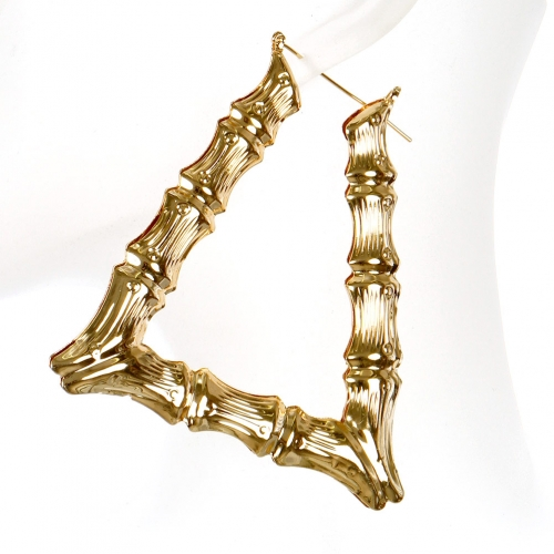Wholesale L02A Textured triangle earrings GD
