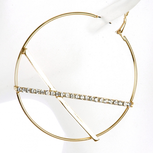 Wholesale L02A Rhinestone accent hoop earrings GDCLR