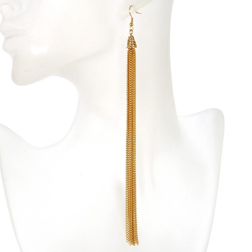 Wholesale L02A Cone with tassel drop earrings GDCLR