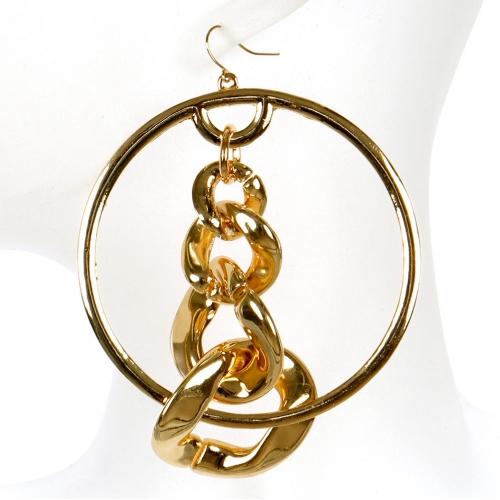 Wholesale L02B Chain inside hoop earrings GD