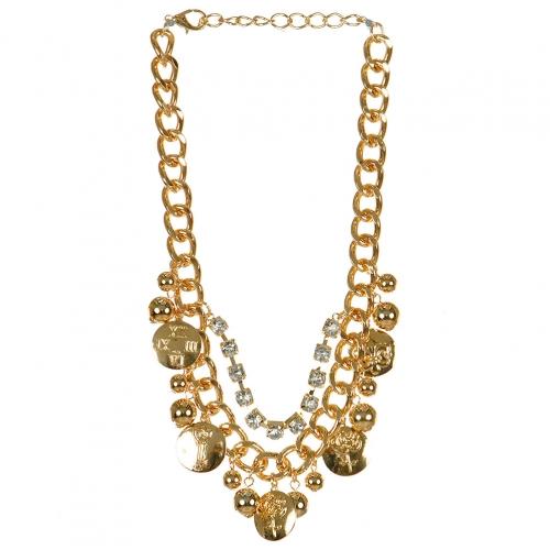 Wholesale L03E Multi disc charm chain necklace GDCLR