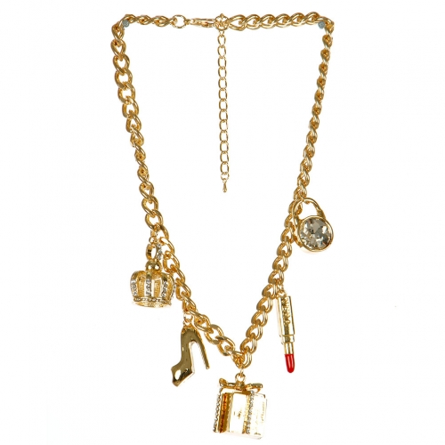 Wholesale L03E Multi charm necklace GDCLR