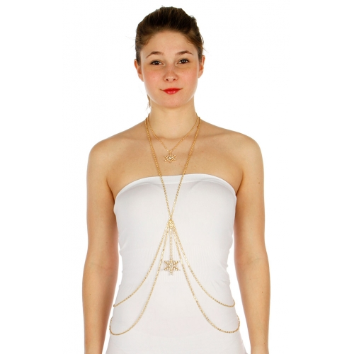 Wholesale L03B Snow flake pendant crisscross body chain GD