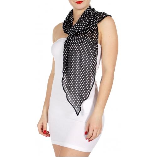 Wholesale H04E Polka dot skinny scarf BK