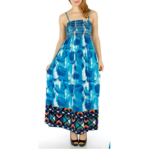 Wholesale WA00 Scrunch top floral long dress FU