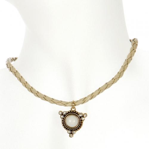 Wholesale L04E Stone pendant braided choker AGNW
