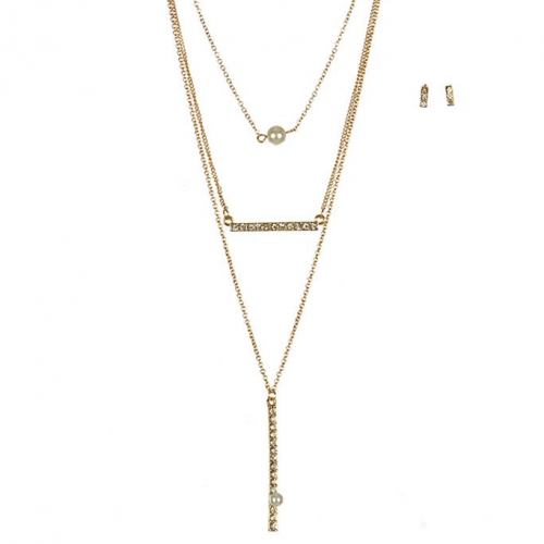 Wholesale L37A Layered bar pendant necklace set G