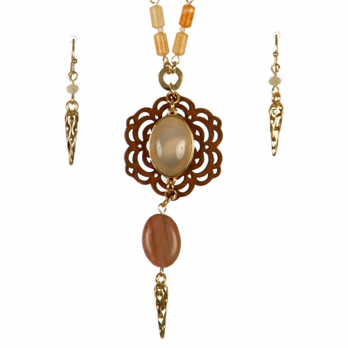 Wholesale L37A Cutout flower pendant necklace set GP