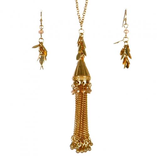 Wholesale L37A Long chain tassel necklace set GB