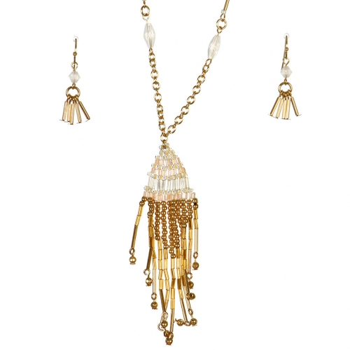 Wholesale L37B Long beaded tassel necklace set GP