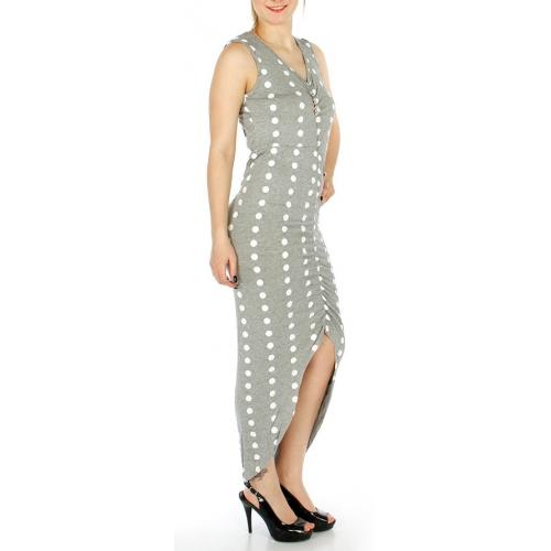 Wholesale O03B Cotton blend shirred high-low dress Grey
