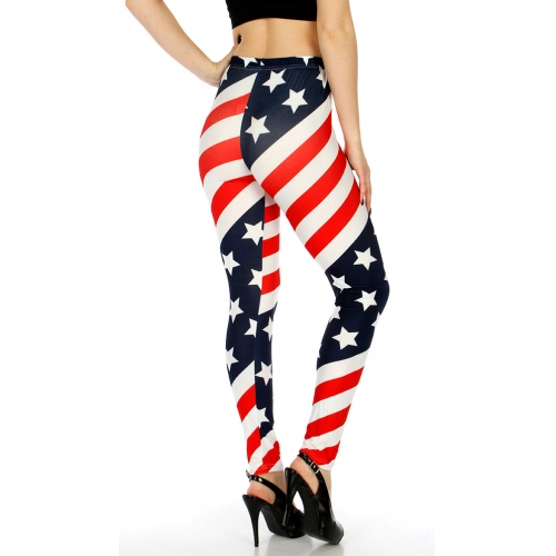 Wholesale E01 Cotton blend american flag leggings