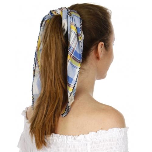 Wholesale H08B Viscose plaid neckerchief Blue