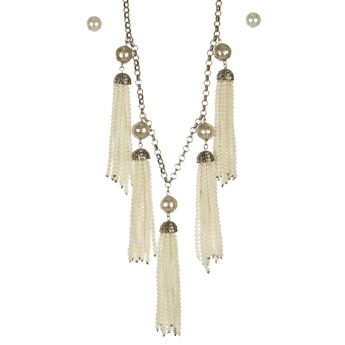 Wholesale L05A Beaded tassel necklace set BURNISHED CR