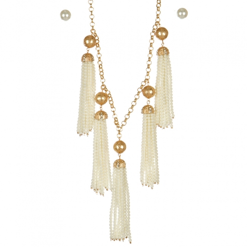 Wholesale L05A Beaded tassel necklace set CR