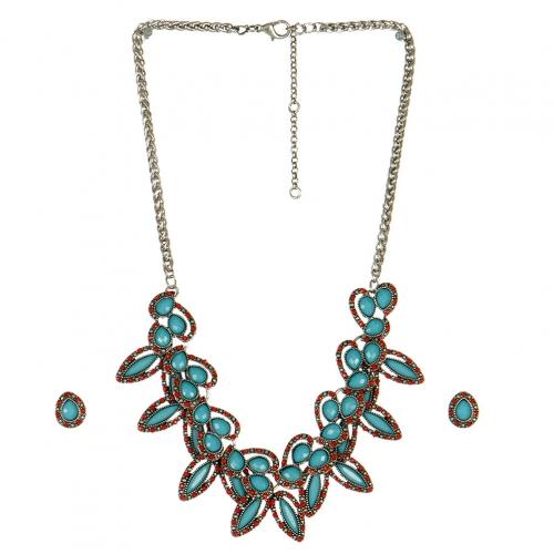 Wholesale L05B Multi colored cluster stone necklace set TQ/CR-BURN SIL