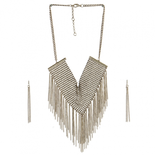 Wholesale L05E Fashion Tassel Necklace/BURNISHED SILVER