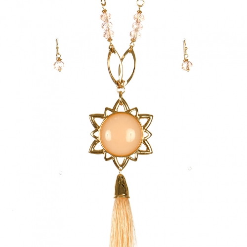 Wholesale L06A Faux Crystal Tassel WITH Pendant Necklace/LIGHT PEACH-GOLD