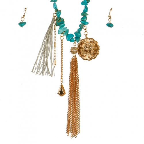 Wholesale L06B Charm Tassel Necklace/ GOLD-TQ GRAY
