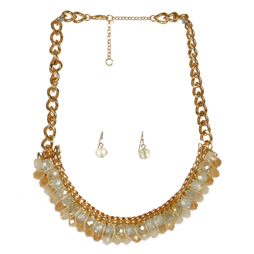Wholesale L06B Faux Crystal Statement Necklace/ GOLD-