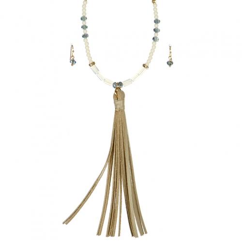 Wholesale L06B Beaded Tassel Necklace /IVORY BEIGE-GOLD
