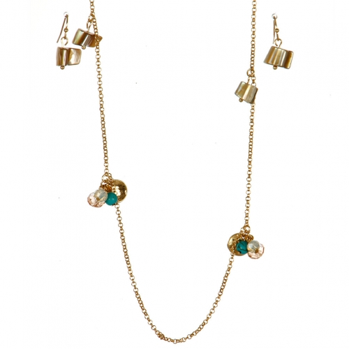 Wholesale L06C Long Charm Necklace/ GOLD-TC