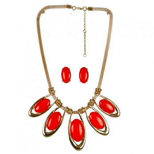 Wholesale L06C Drop Pendant Statement Necklace/GOLD_RED