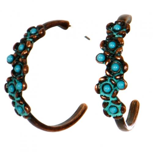Wholesale L06D Earrings/TURQUORSE/BURN COPPER PATIN
