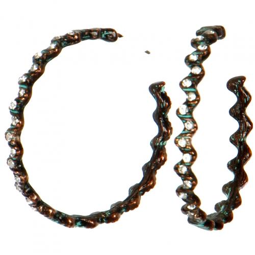 Wholesale L06D Earrings/CLEAR/BURN COPPER PATINA