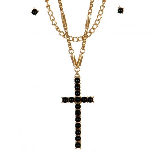 Wholesale L06A Faux Stone Cross Necklace/BLACK-WARM GOLD