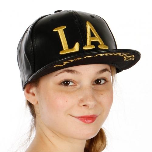 Wholesale R33A LA Faux Leather Hat BLK