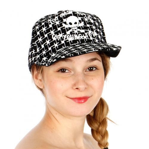 Wholesale S53A Skull Print Snapback Hat BLK