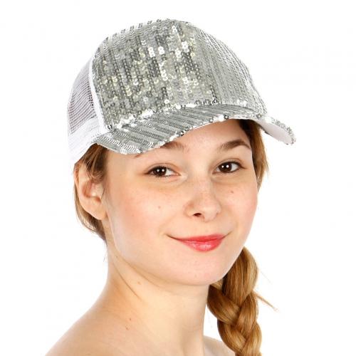 Wholesale R54A Sequins Mesh Snapback Hat RD