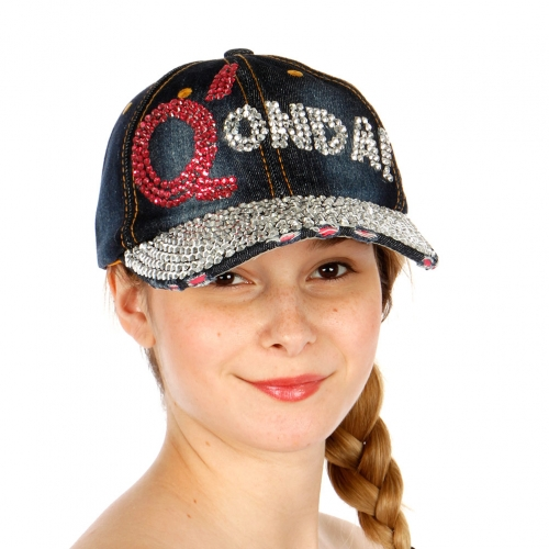 Wholesale T24A Q'ONDF Rhinestone Denim Hat RDDBL
