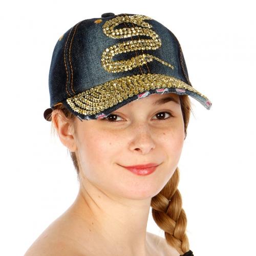 Wholesale T24C Snake Rhinestone Snapback Hat GDDBL