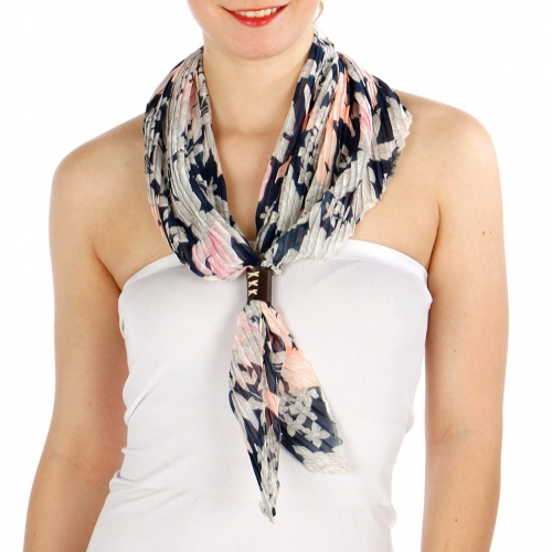 Wholesale I33A Floral Print pleated rhombus Scarf NV