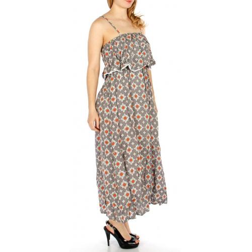 Wholesale G46D Ruffle Top Rayon Print Dress GREY