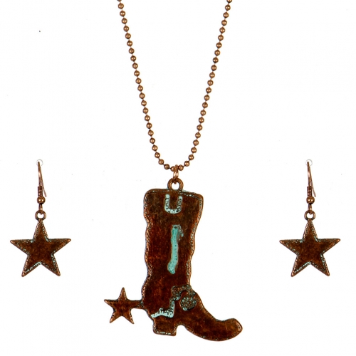 Wholesale M09C Cowboy Boot and Star Necklace Set OG