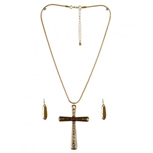 Wholesale M11A Cross Pendant Necklace Set GD