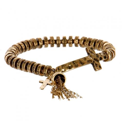 Wholesale M11A Ancient Cross Tassel Bell Bracelet RGB