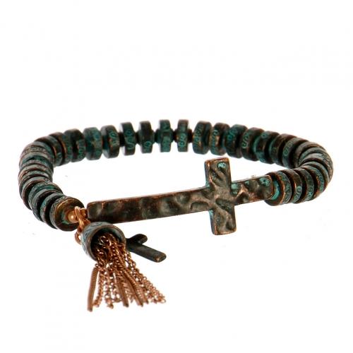Wholesale M11A Ancient Cross Tassel Bell Bracelet OG