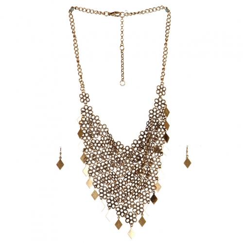 Wholesale N44C Flower Diamond Statement Necklace RS