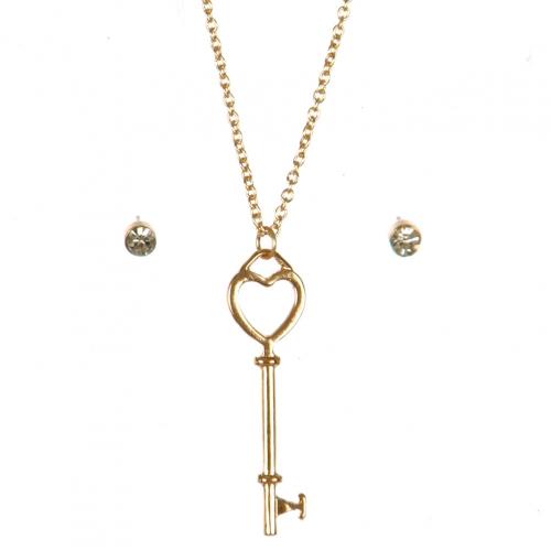 Wholesale N44D Heart Lock Key Necklace GCL