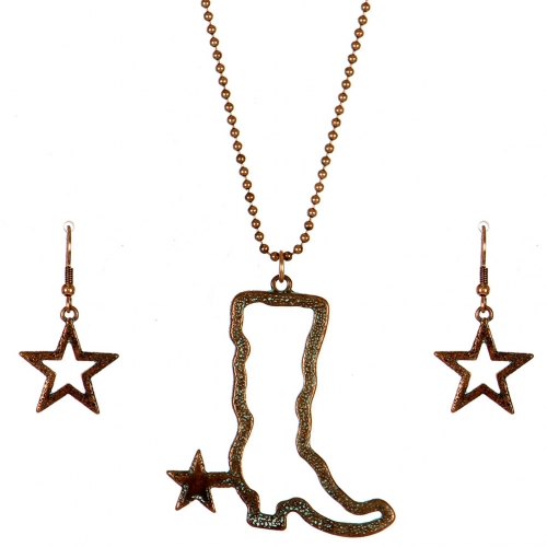 Wholesale M11B Texas Boot Star Necklace Set OG